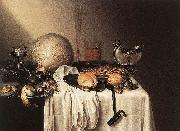 BOELEMA DE STOMME, Maerten Still-Life with a Bearded Man Crock and a Nautilus Shell oil painting